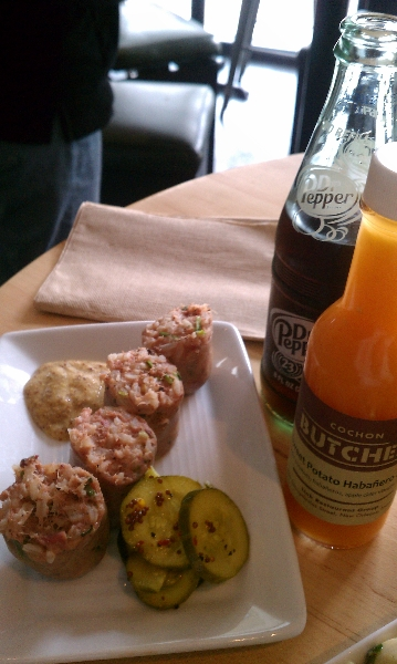 Boudin Bites with Creole Mustard and Pickles