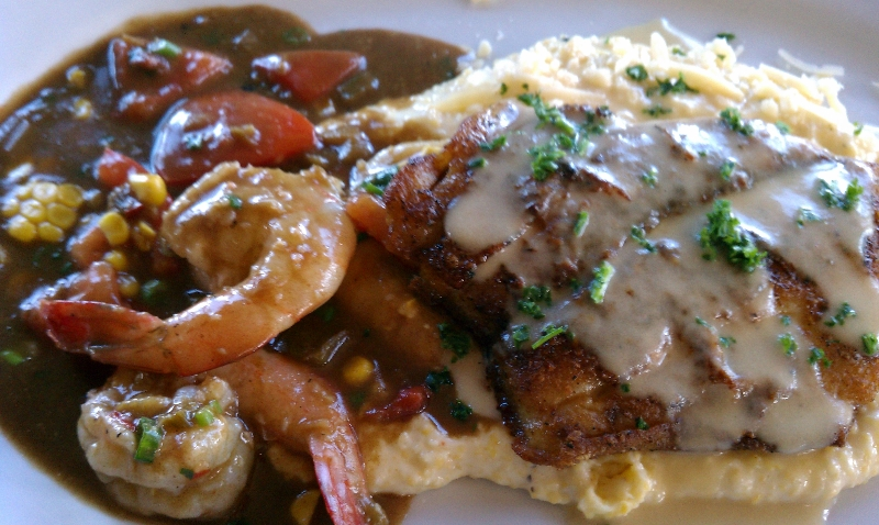 Fried Catfish Meuniere with Shrimp and Grits