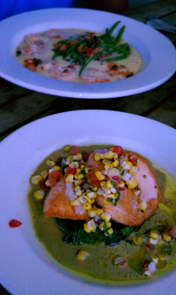 Grilled Salmon with Sauteed Spinach and Pistachio Aioli